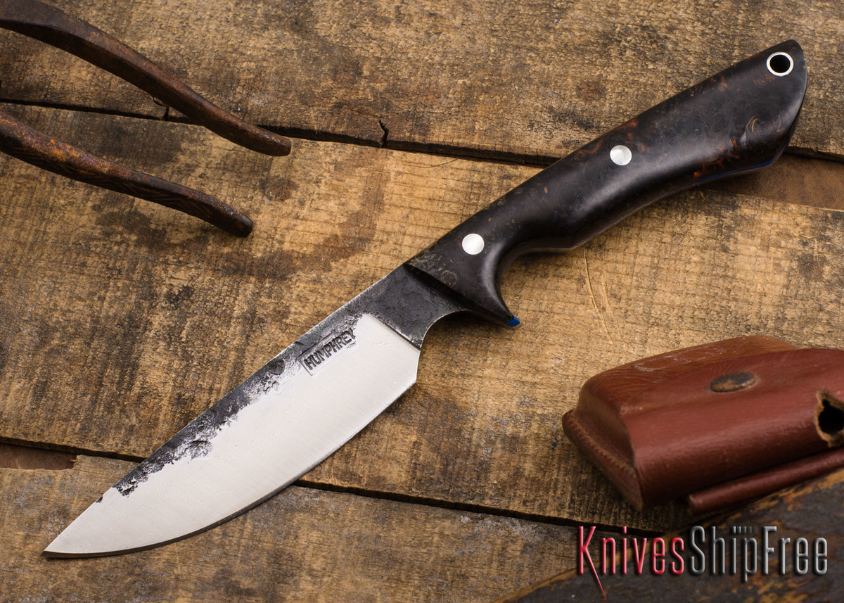 Lon Humphrey Knives: Bridger - Multicolored Maple Burl - Blue Liners primary image