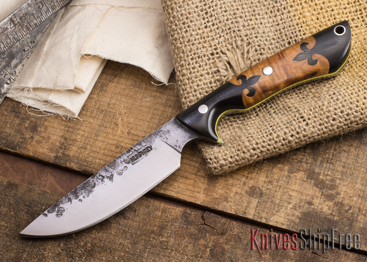 Lon Humphrey Knives: Bridger - Curly Koa - Segmented Handles - Yellow Liners #3 primary image