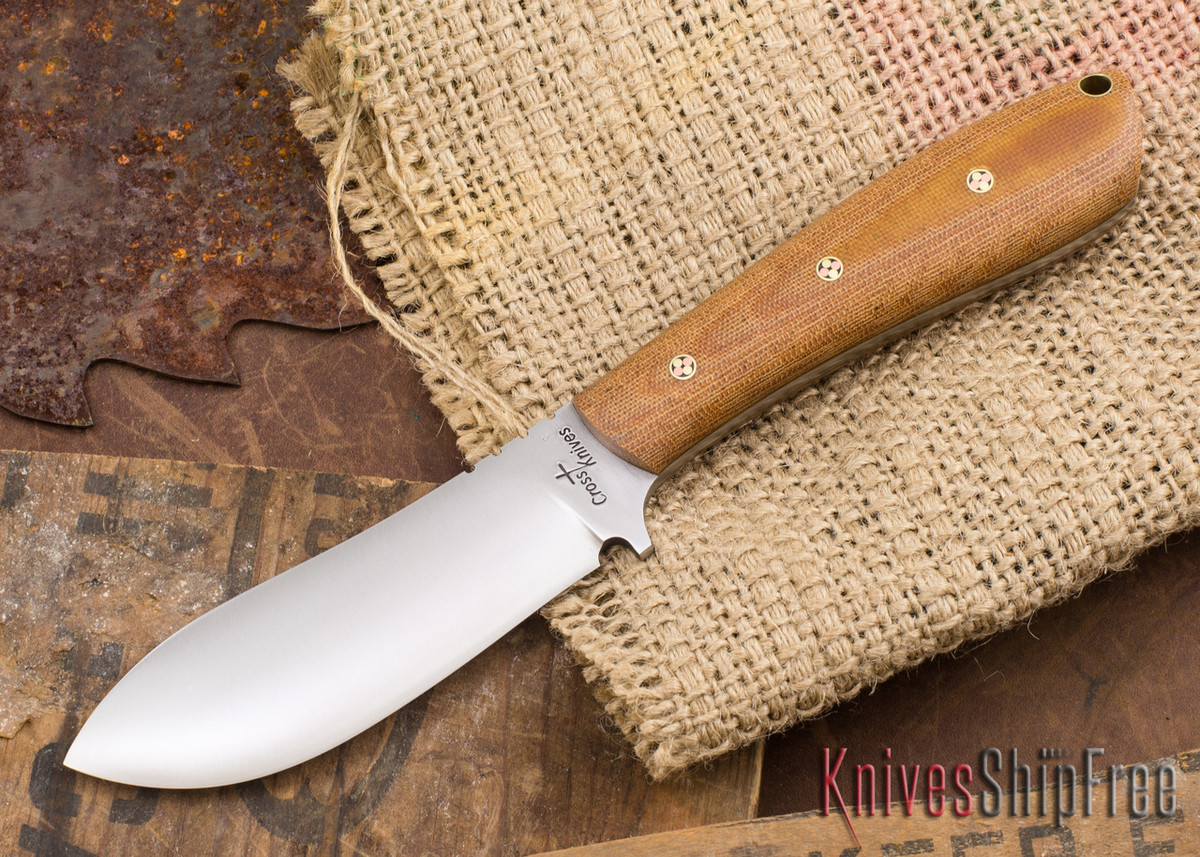 Cross Knives: Nessmuk - Natural Canvas Micarta - Mosaic Pins - CK23AD005 primary image