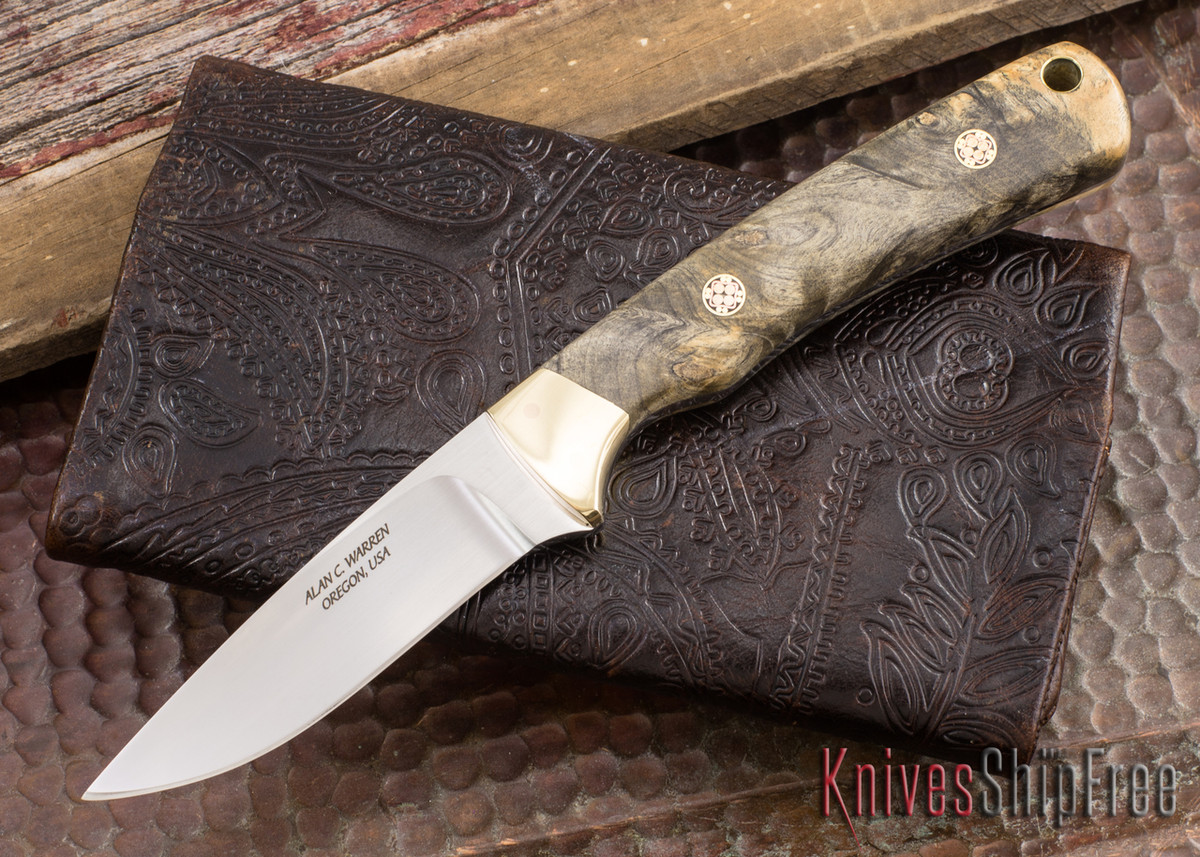 Alan Warren Knives: #1864 Custom Neck Knife - California Buckeye Burl - Mosaic Pins - Aluminum Bronze Bolsters primary image