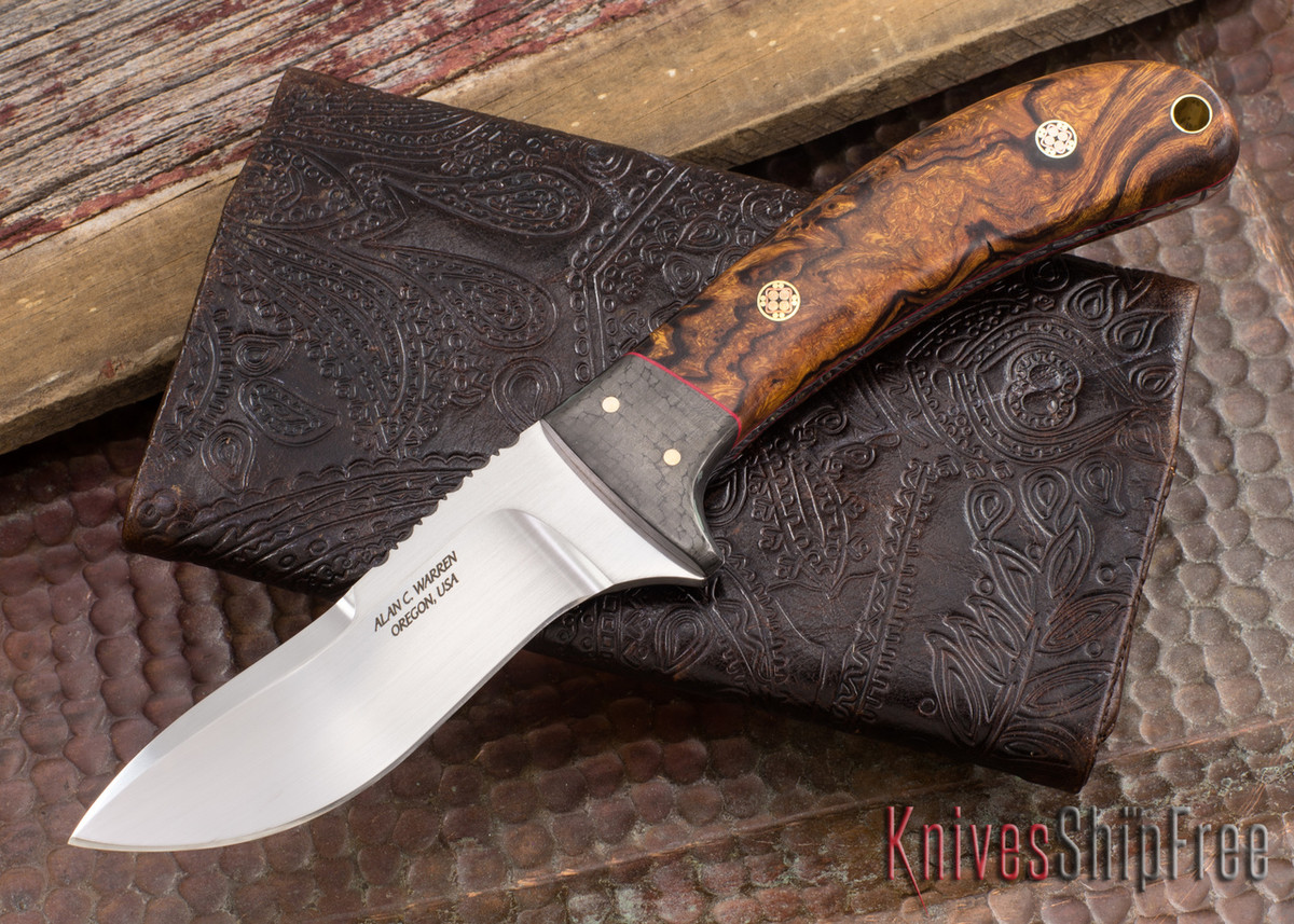 Alan Warren Knives: #2222 Carbon Fiber - Ironwood - Red Liners - Filework - Mosaic Pins primary image