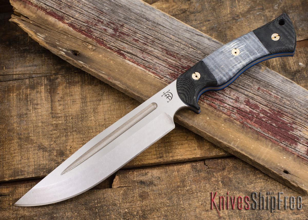 dark timber knives honey badger cpm 3v black micarta gray curly maple blue liners. Black Bedroom Furniture Sets. Home Design Ideas