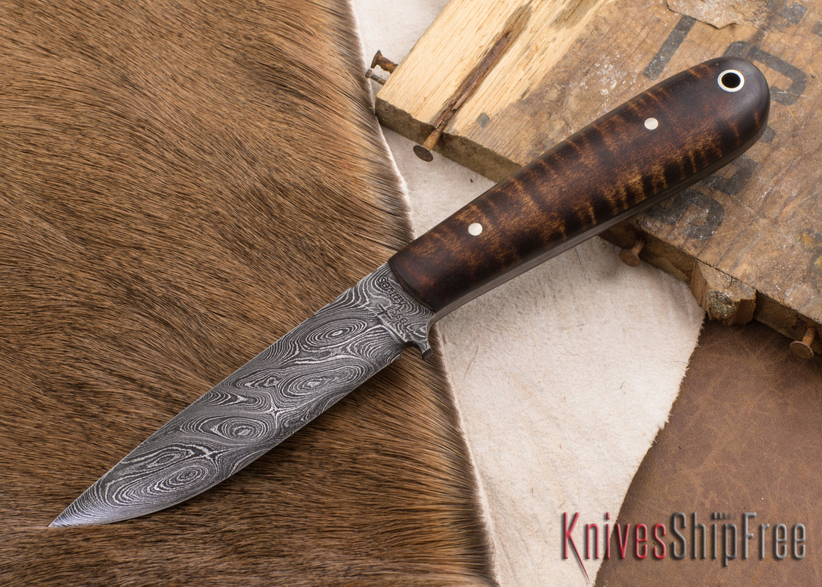 Cross Knives: Damascus Trapper - Curly Maple - Black Liners - 022604 primary image