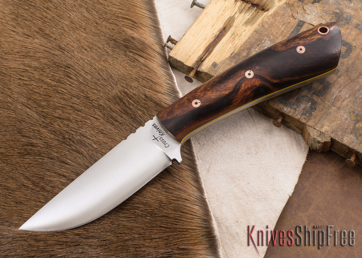 Cross Knives: Lil Whitetail - Desert Ironwood - Yellow Liners - Mosaic Pins - A2 Steel - 022607 primary image