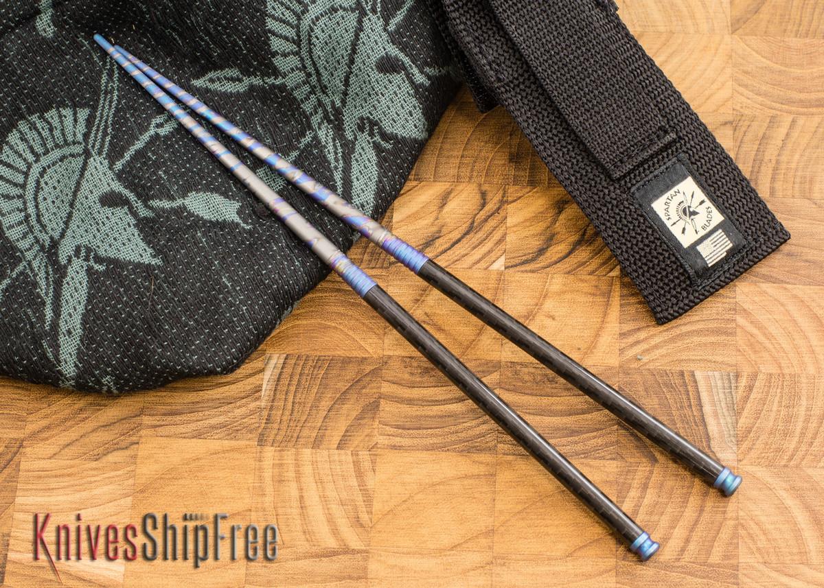 Spartan Blades: Chopsticks - Titanium & Carbon Fiber - Multicolor Blue Anodized primary image