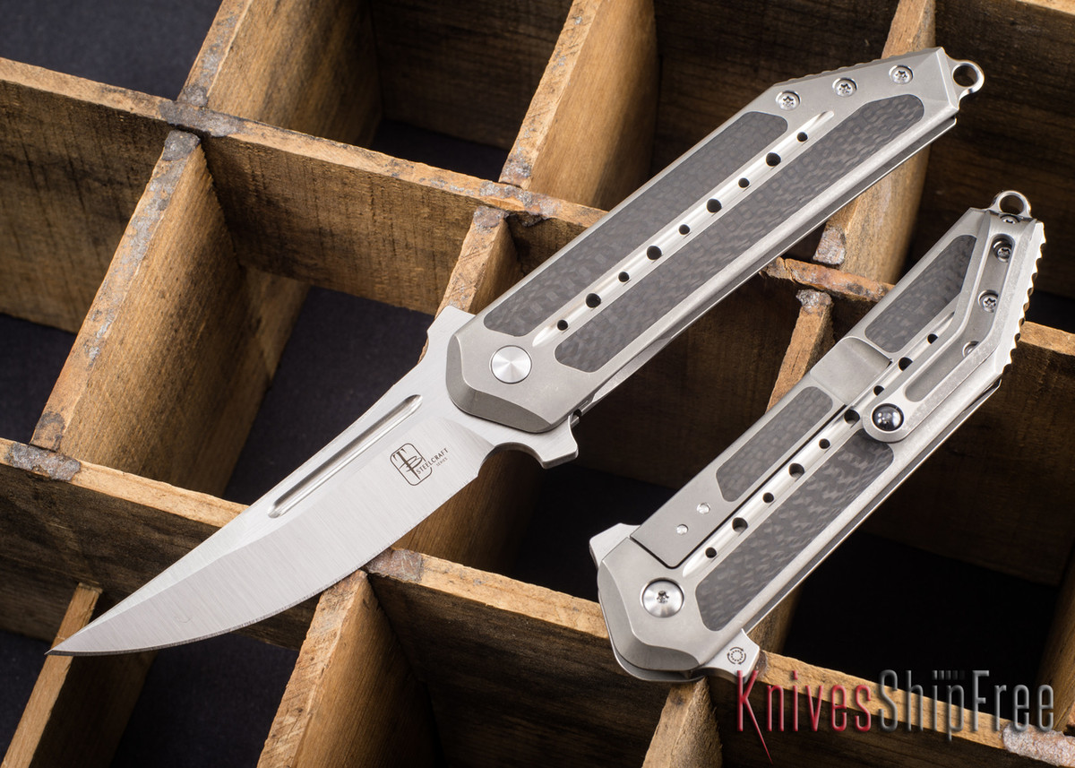 Todd Begg Knives: Steelcraft Series - 3/4 Kwaiken - Carbon Fiber Inlay - Silver Titanium - Satin Blade primary image