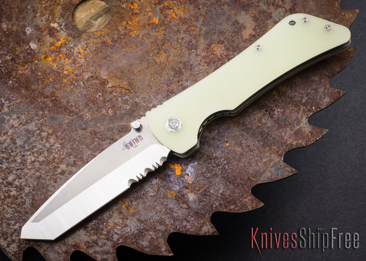 Southern Grind: Bad Monkey - Tanto Satin Serrated Blade - Jade Ghost Green G-10 primary image
