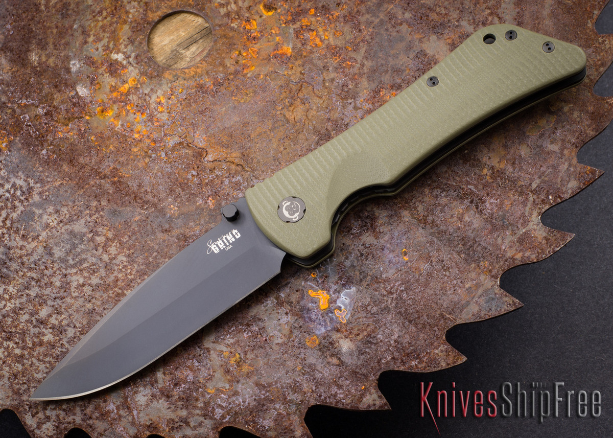 Southern Grind: Bad Monkey - Drop Point Black Blade - OD Green G-10