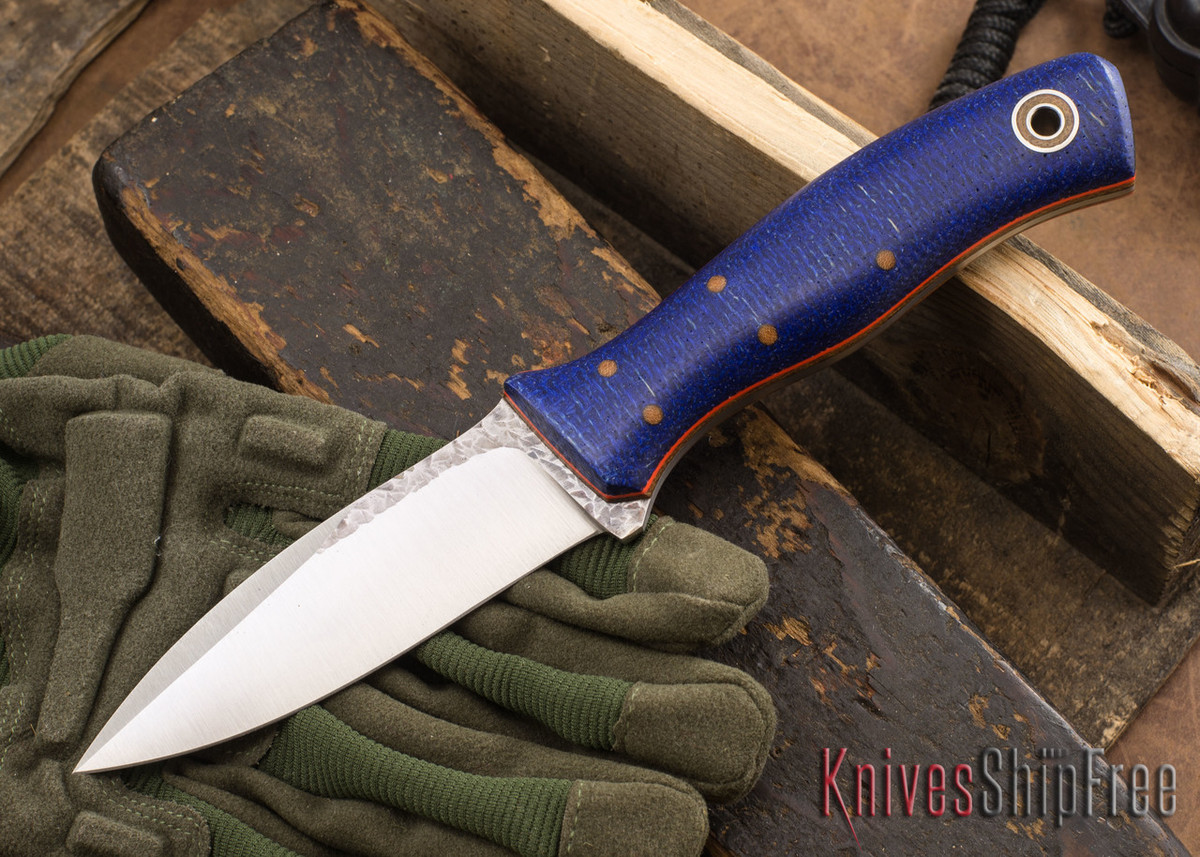Fiddleback Forge: Asp - Blue Burlap - Natural & Orange Liners - A2 Tool Steel - FF10ED002 primary image