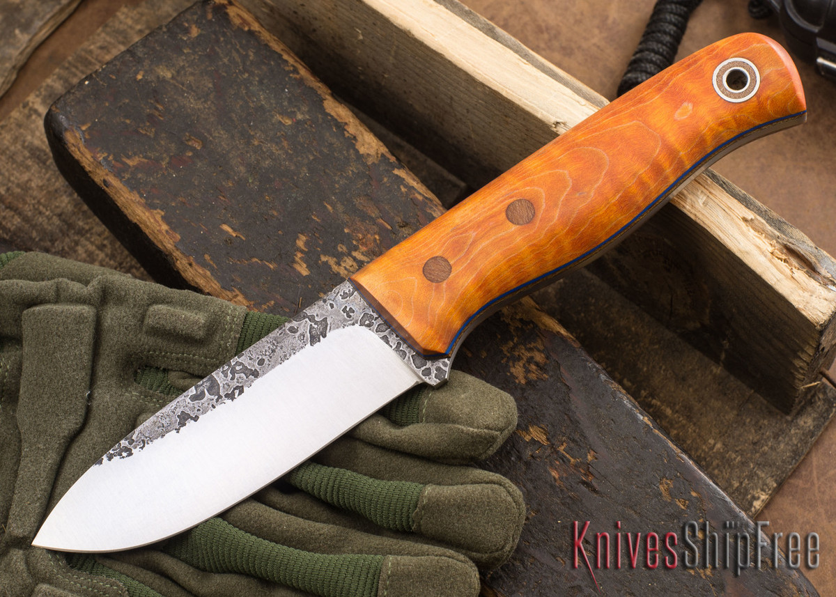 Fiddleback Forge: Bushcrafter - Dyed Curly Maple - Natural & Blue Liners - A2 Tool Steel - FF10ED010 primary image