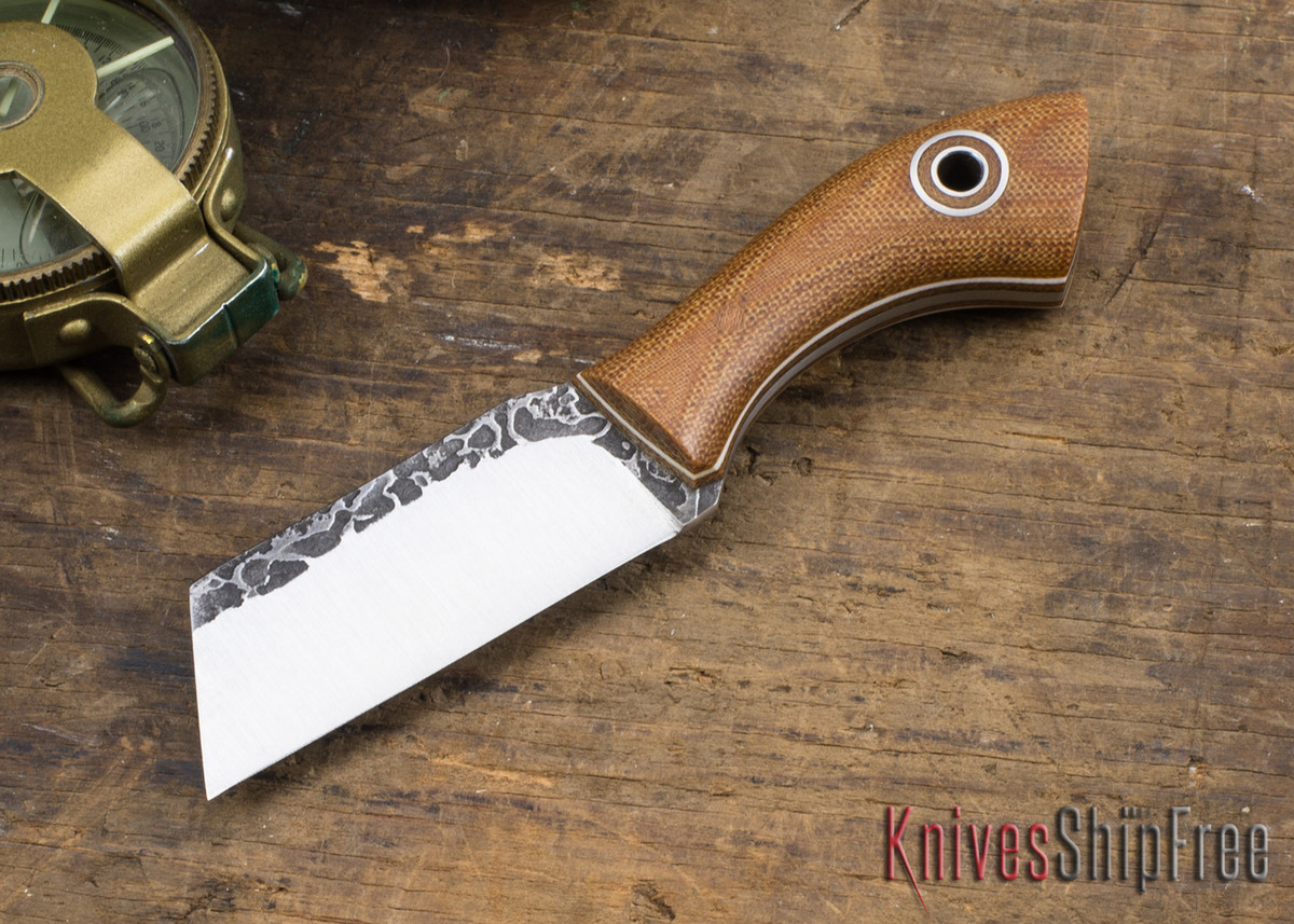 Fiddleback Forge: Bow Legged Joe - Natural Canvas Micarta - Natural & White Liners - Skeletonized Full Tang - FF31ED008 primary image