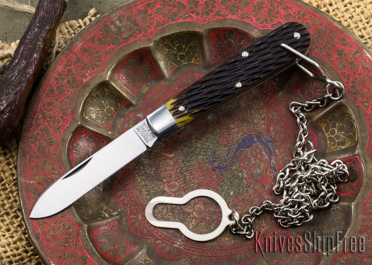 Great Eastern Cutlery: #15 Tidioute - Huckleberry Boy's Knife - Antique Yellow Jigged Bone - Bail & Chain primary image