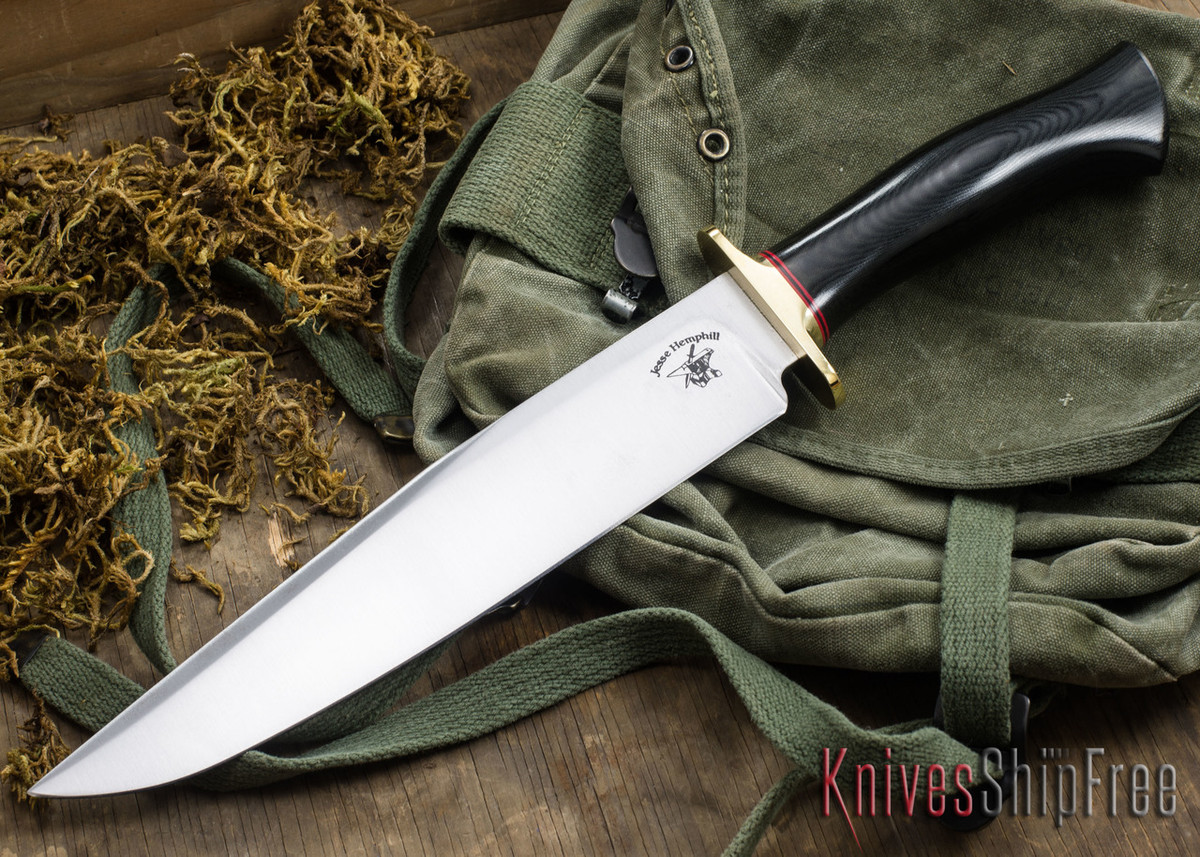 Jesse Hemphill Knives: Bowie - Black & Green Micarta primary image
