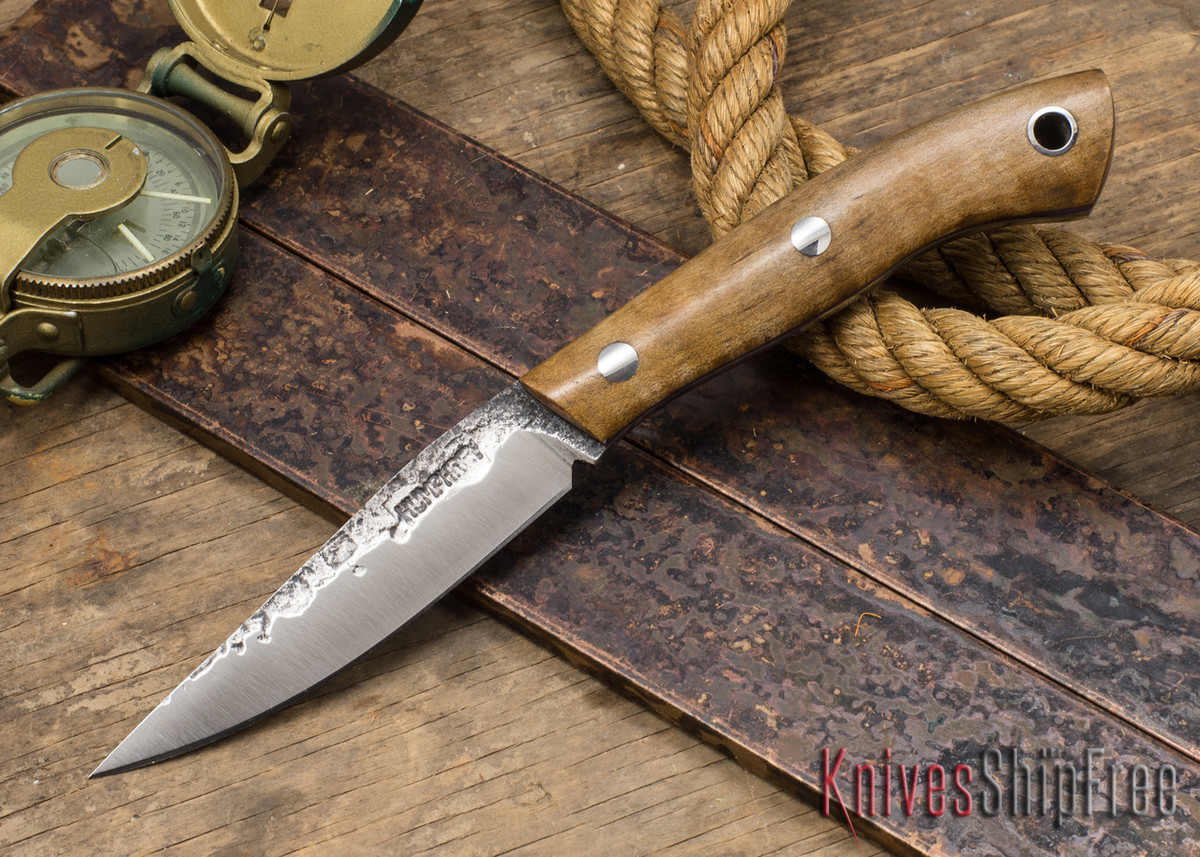 Lon Humphrey Knives: Bird & Trout - Forged 440C - Dark Curly Maple - Purple Liners #2 primary image
