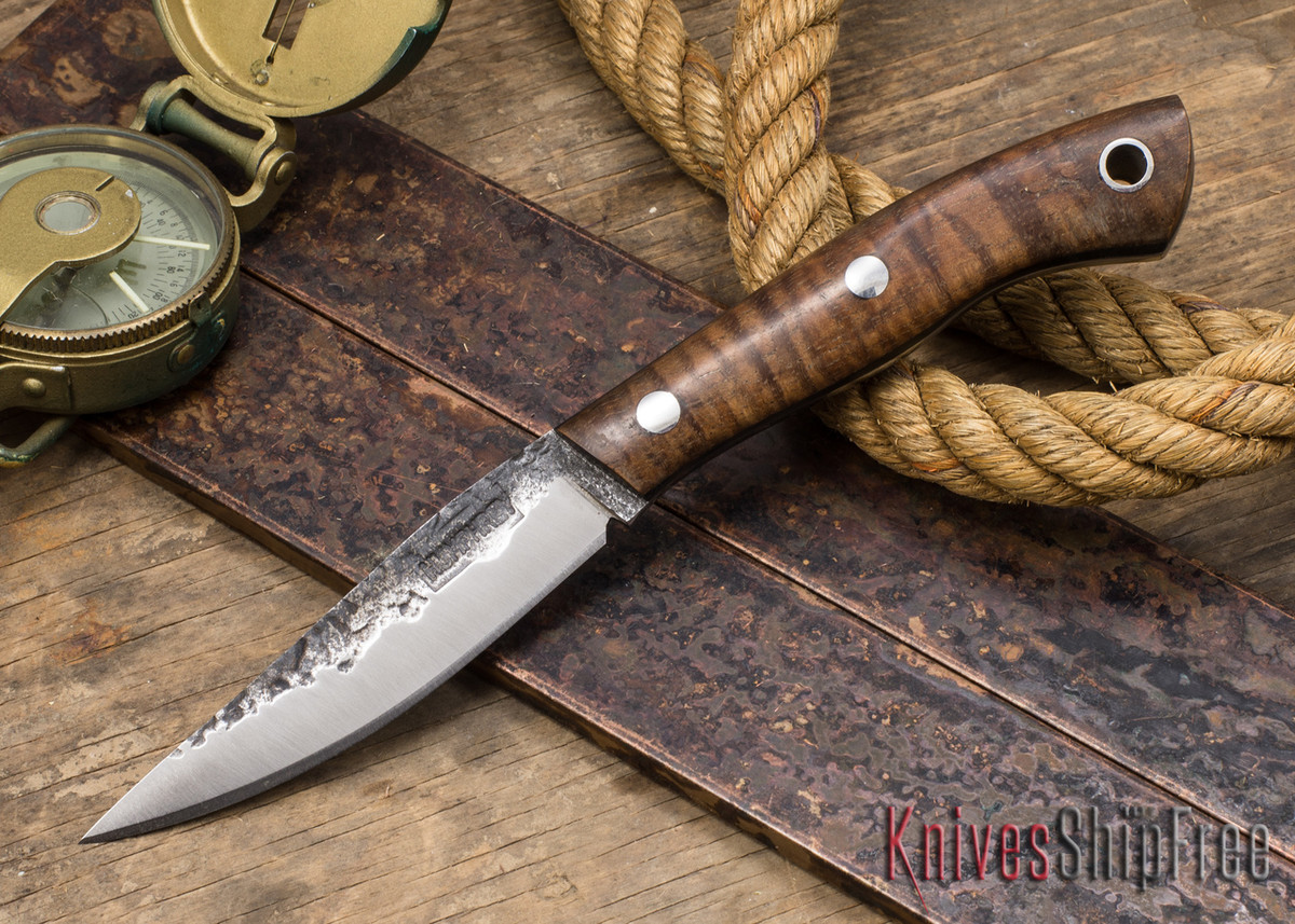 Lon Humphrey Knives: Bird & Trout - Forged 440C - Curly Koa - Black Liners #2 primary image
