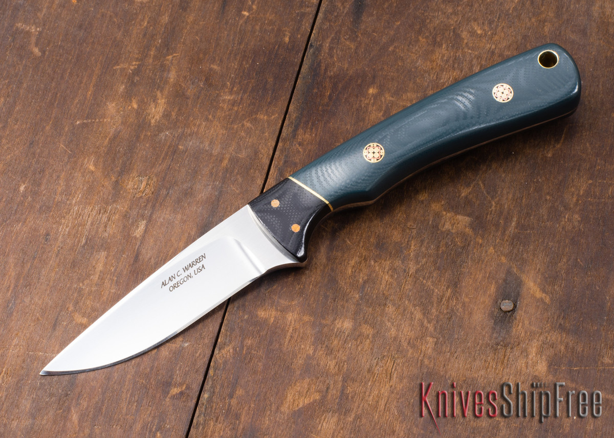 Alan Warren Knives: #1868 Custom Neck Knife - Forest Green G-10 - Mosaic Pins primary image