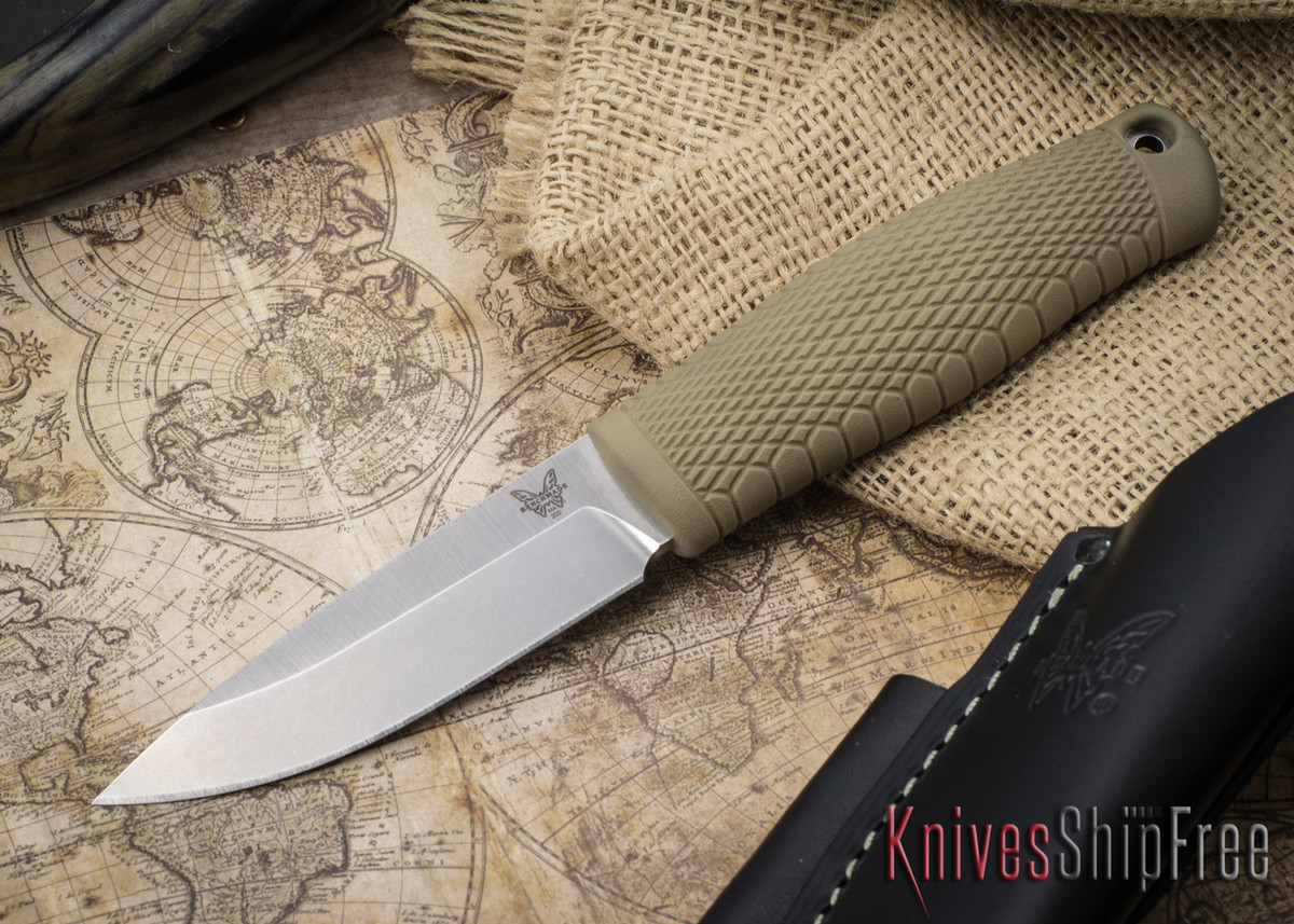 Benchmade Knives: 200 Puukko - CPM 3V Fixed Blade - Textured Ranger Green Handle primary image