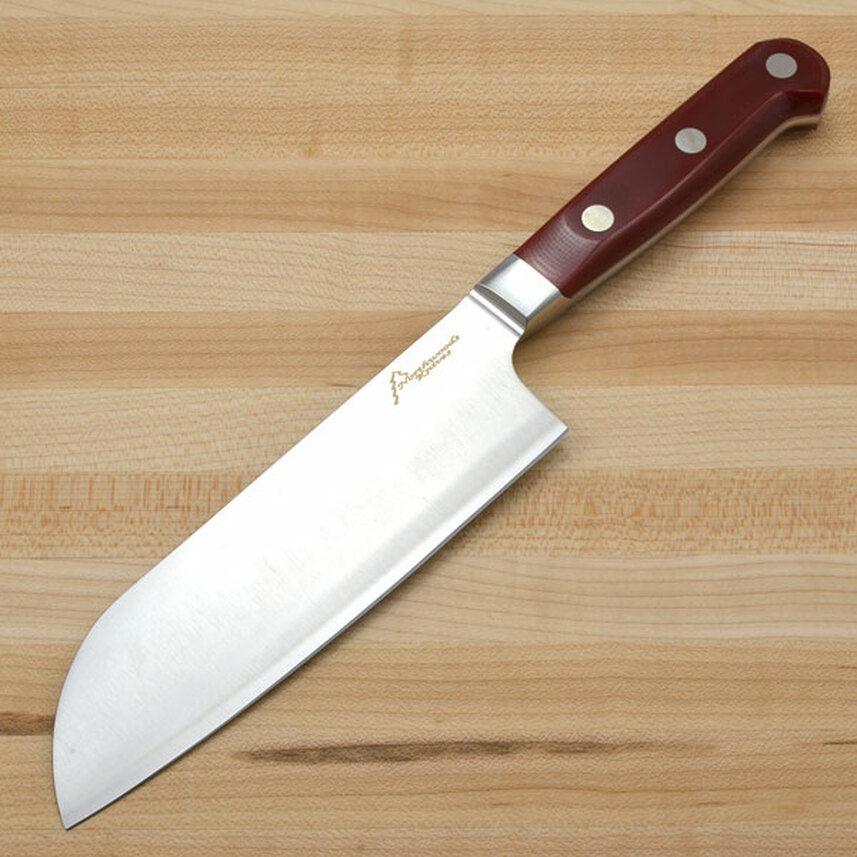 "Northwoods Knives: Forged Kitchen Cutlery - 7"" Santoku - Red G-10 - White Liners primary image"