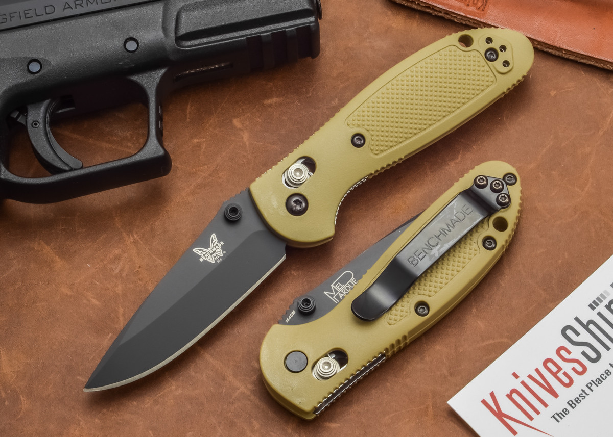 Benchmade Knives: 556BKSN Mini-Griptilian - Sand Handle - Black Blade primary image