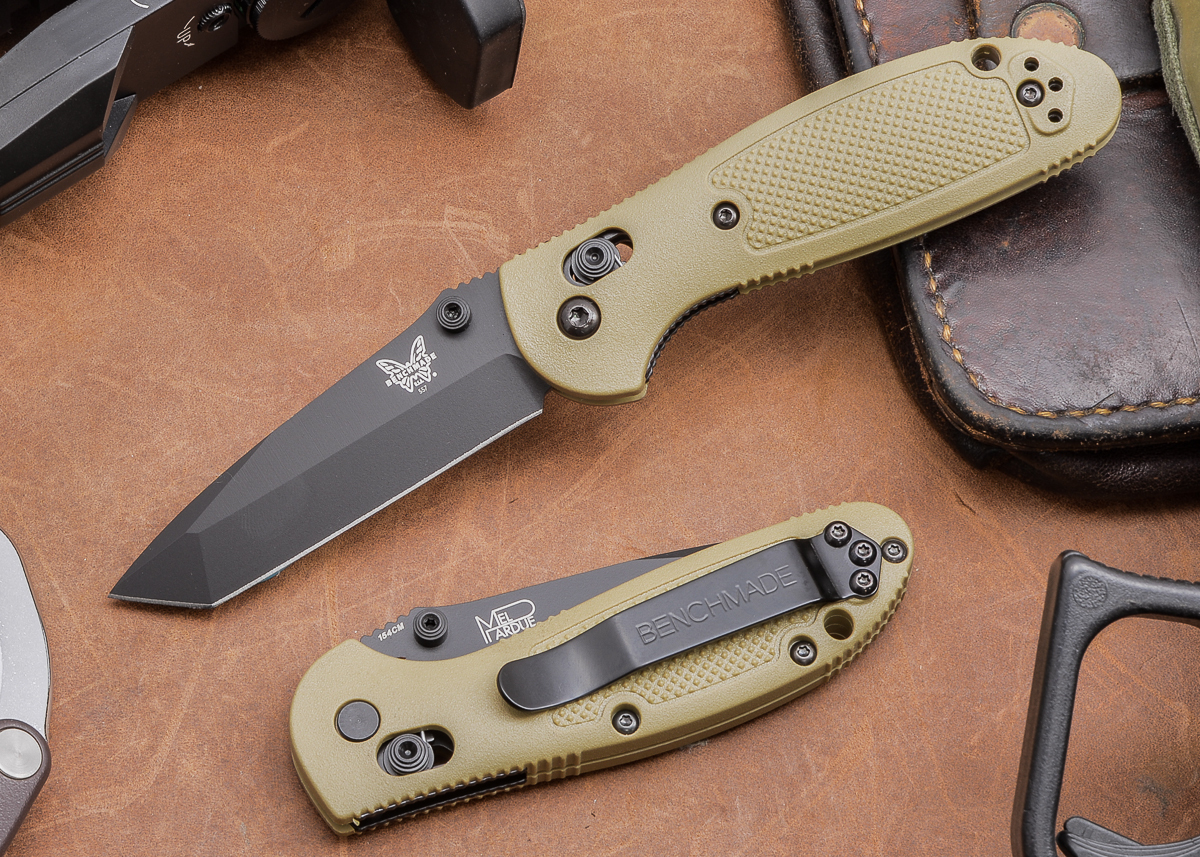 Benchmade Knives: 557BKSN Mini Griptilian - Tanto - Black Blade - Sand Scales primary image