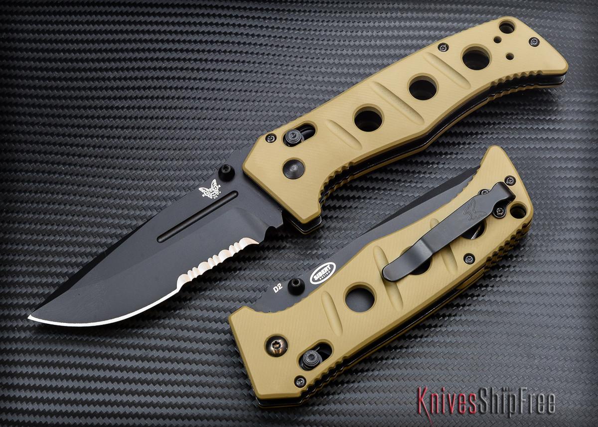 Benchmade Knives: 275SBKSN Adamas - Serrated Black Blade - Desert Tan G-10 primary image