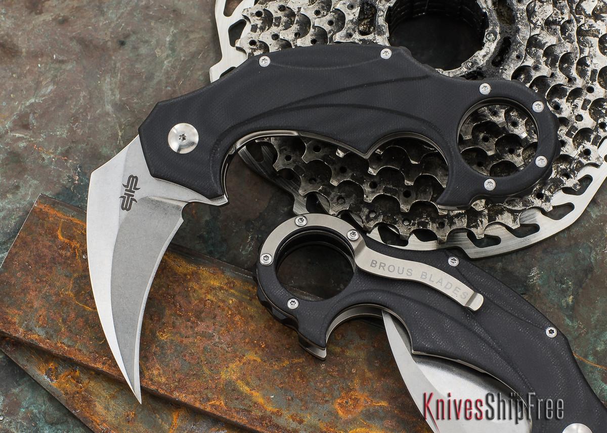 Brous Blades: Enforcer - Black G-10 - Stonewash Finish primary image