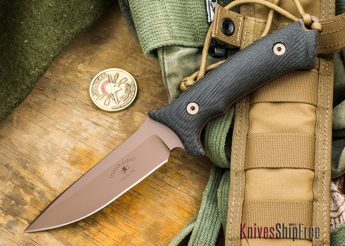 Spartan Blades: Spartan Harsey Hunter - Flat Earth Blade - Black Canvas Micarta primary image