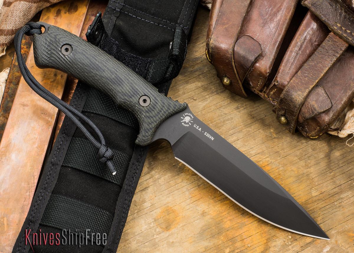 Spartan Blades: Harsey Difensa - Black Blade - Black Canvas Micarta primary image