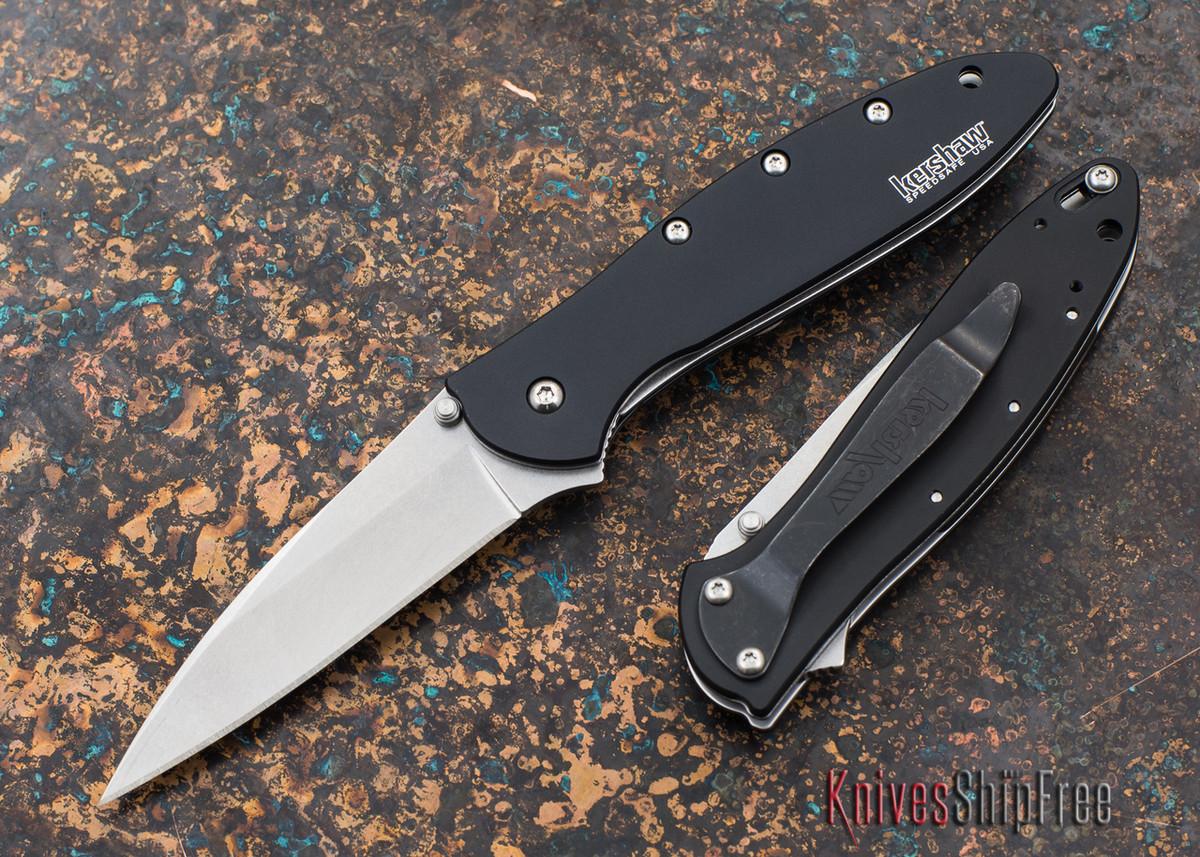 Kershaw Knives: Leek - Stonewashed Finish - Black Handle - Assisted Opening - 1660SWBLK primary image