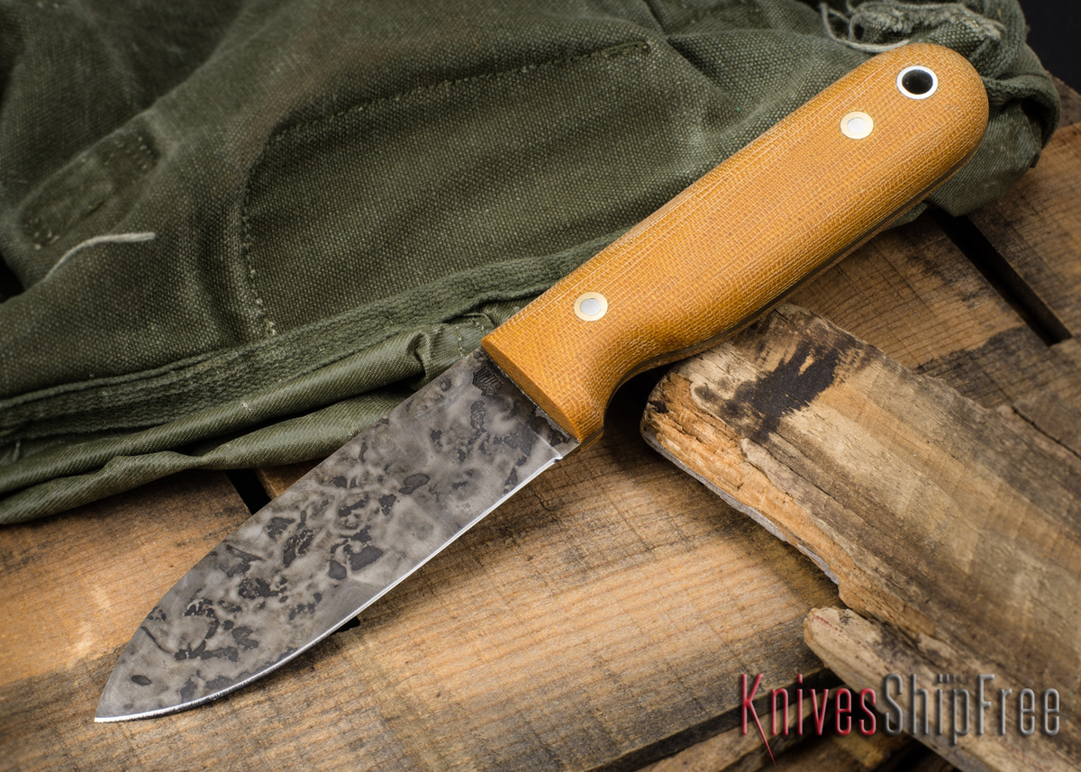 L.T. Wright Knives: Bushcrafter HC - Natural Micarta - Dangler Sheath primary image