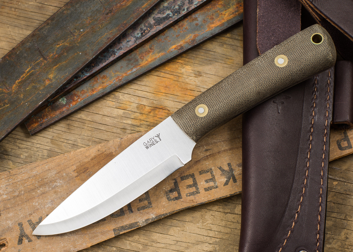 L.T. Wright Knives: Gary Wines Bushcrafter - Green Micarta - Matte - Scandi Ground primary image