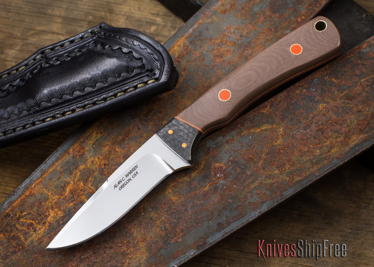 Alan Warren Knives: Neck Knife - Brown G-10 - Carbon Fiber Bolster - #1831 primary image