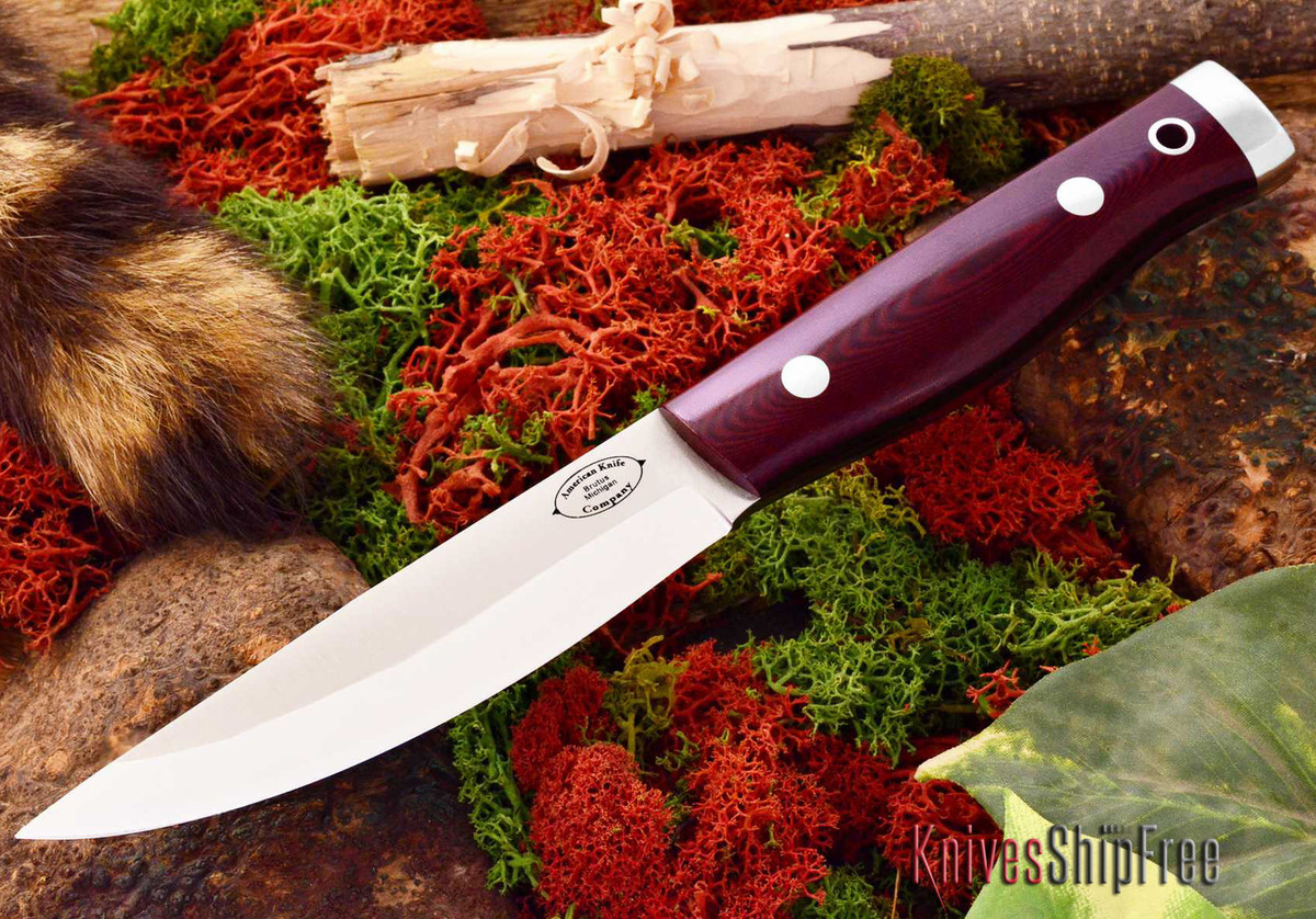 American Knife Company: Forest II - Maroon Linen Micarta primary image