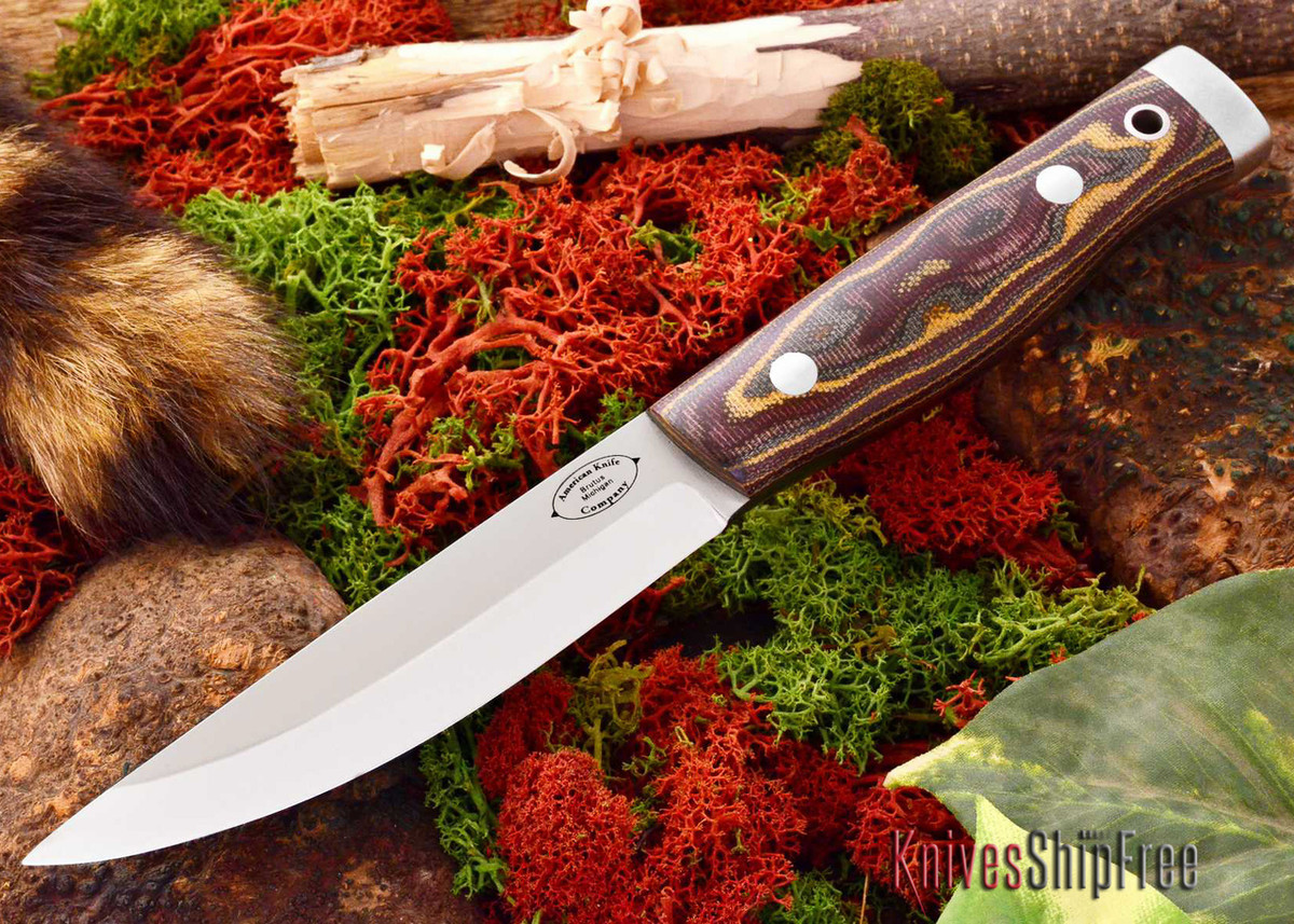 American Knife Company: Forest II - Snakeskin Burgundy Canvas Micarta - Matte primary image