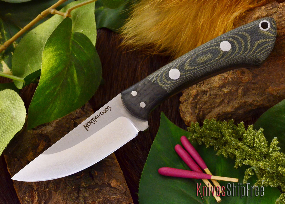 Northwoods Knives: Iron River - Black & Green Linen Micarta - Matte primary image