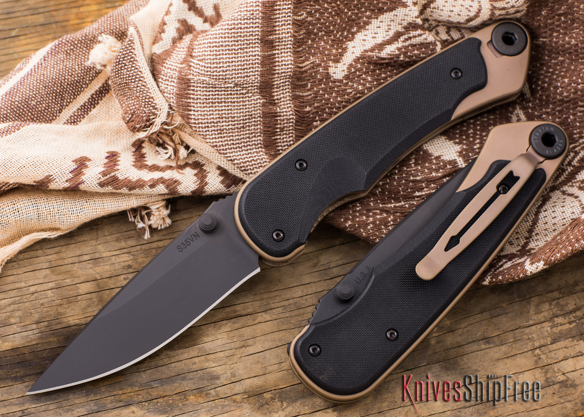 Spartan Blades: Akribis - Black Blade - Flat Dark Earth Hardware - Black G-10 Handles primary image