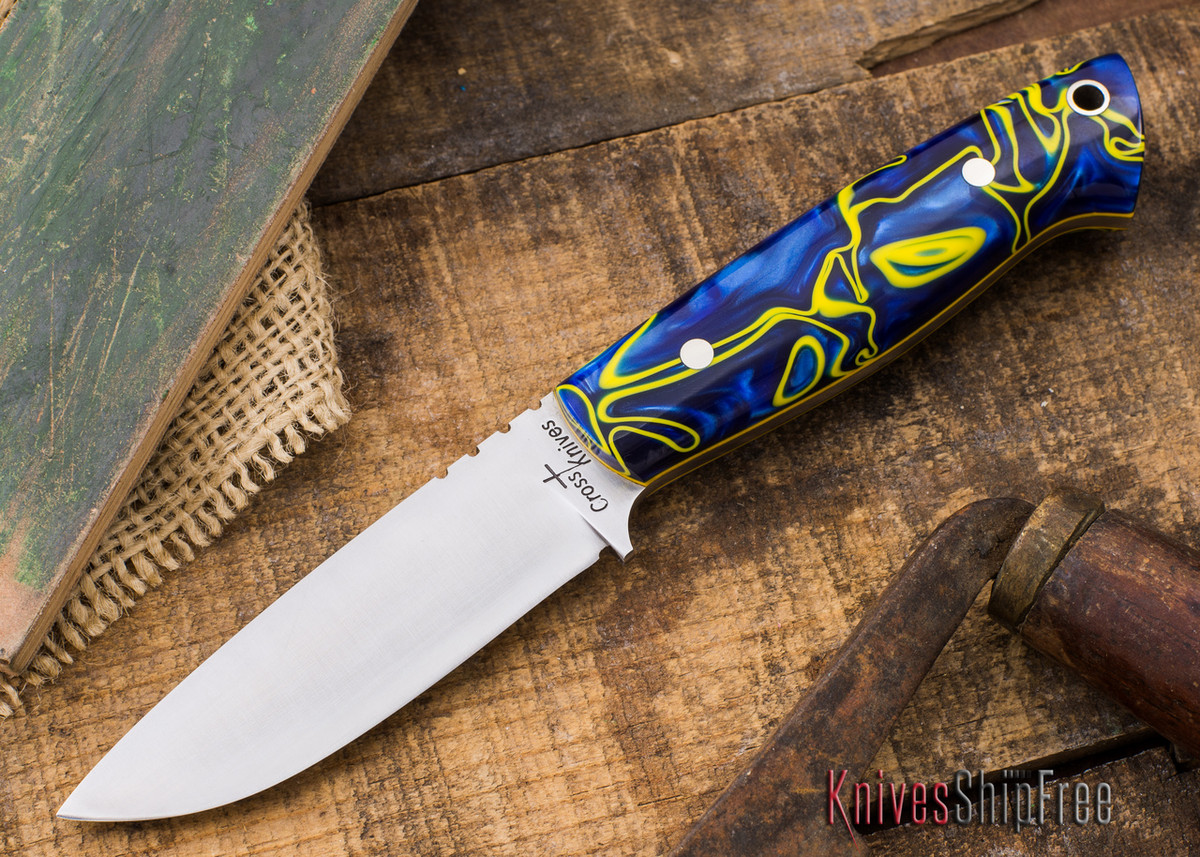 Cross Knives: Lil' Gent EDC Knife - Blue Pearl Kirinite - Yellow Liners - Nickel Silver Pins primary image