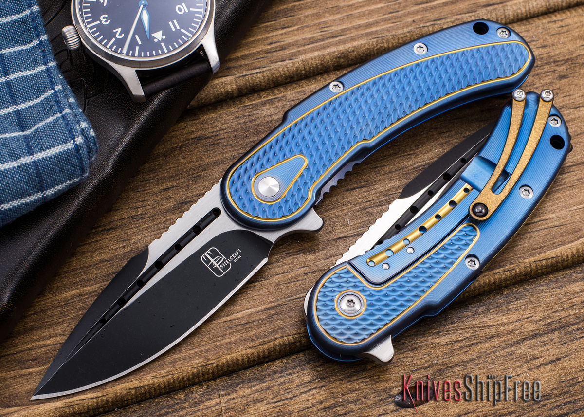 Todd Begg Knives: Steelcraft Series - Mini-Bodega - Blue & Gold Finish primary image