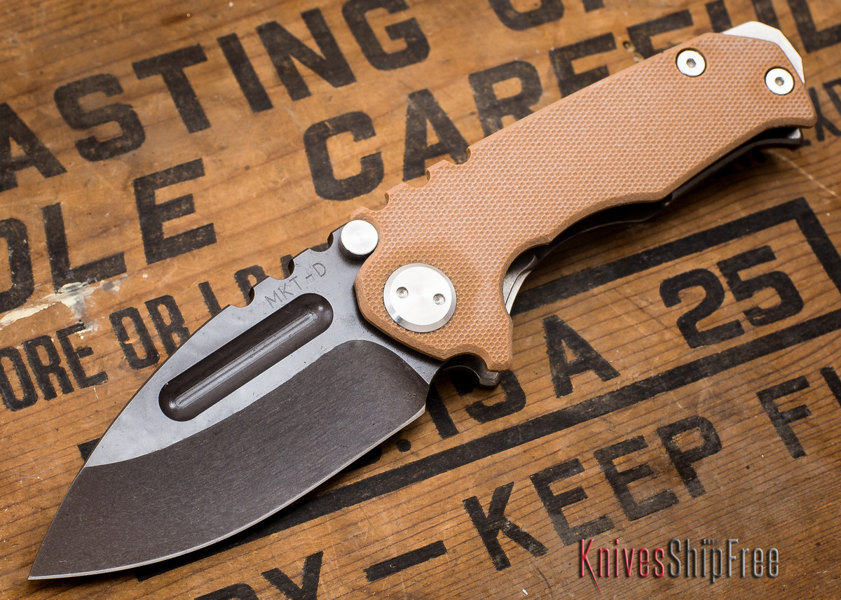 Medford Knife & Tool: Micro Praetorian G - Coyote G-10 / Flamed Ti - Tumbled Oxide Finish - 062907 primary image