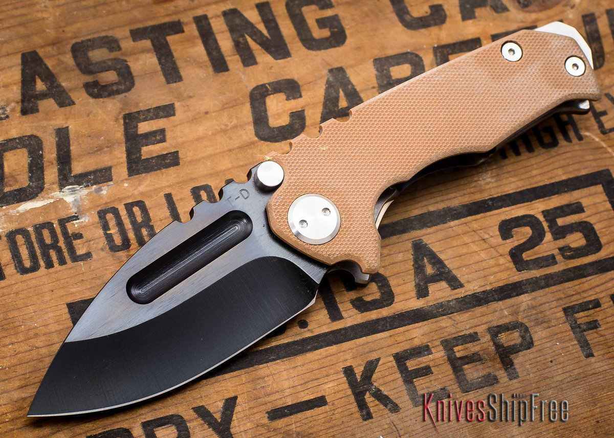 Medford Knife & Tool: Micro Praetorian G - Coyote G-10 / Flamed Ti - Black PVD - 062902 primary image