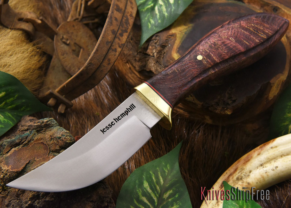 Jesse Hemphill Knives: DeKalb Series - High Falls - Dark Burgundy Elder burl primary image