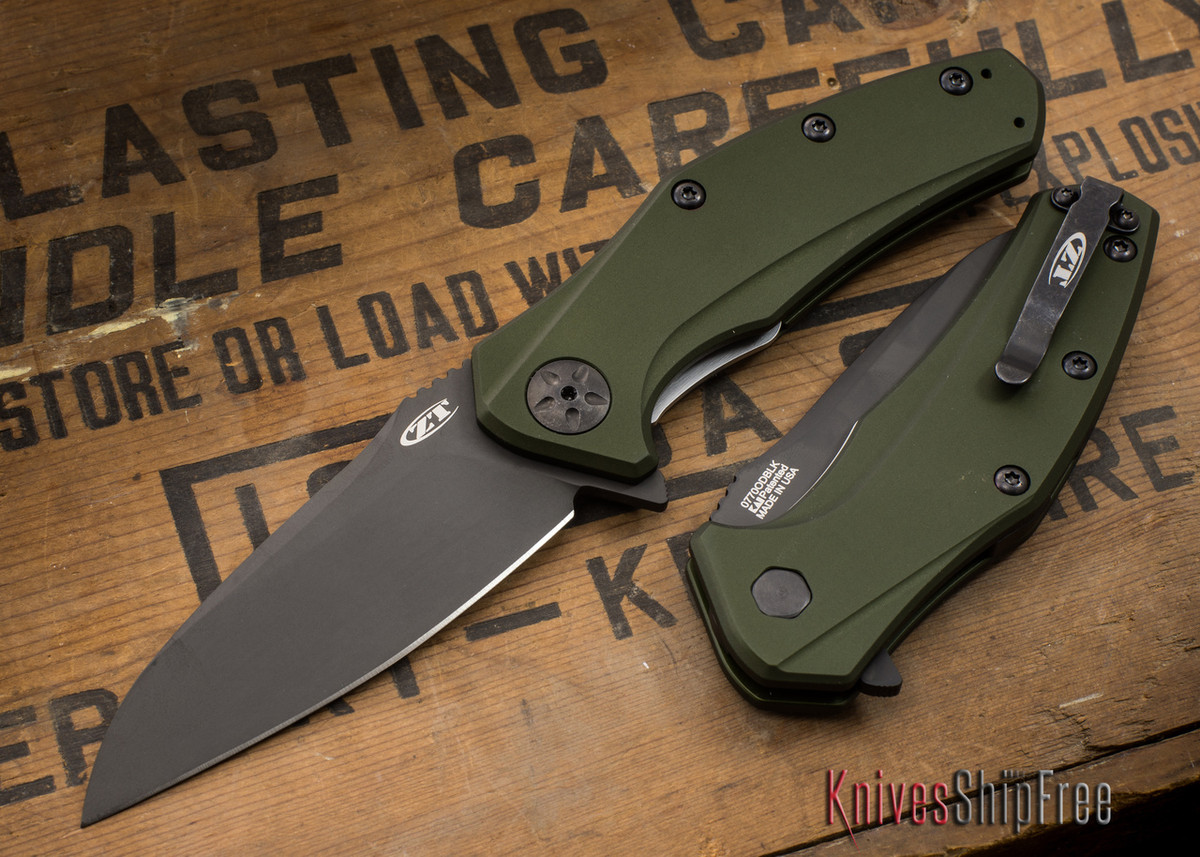 Zero Tolerance: ZT0770ODBLK - Assisted - OD Green Aluminum - CPM S35VN - Black DLC Finish primary image