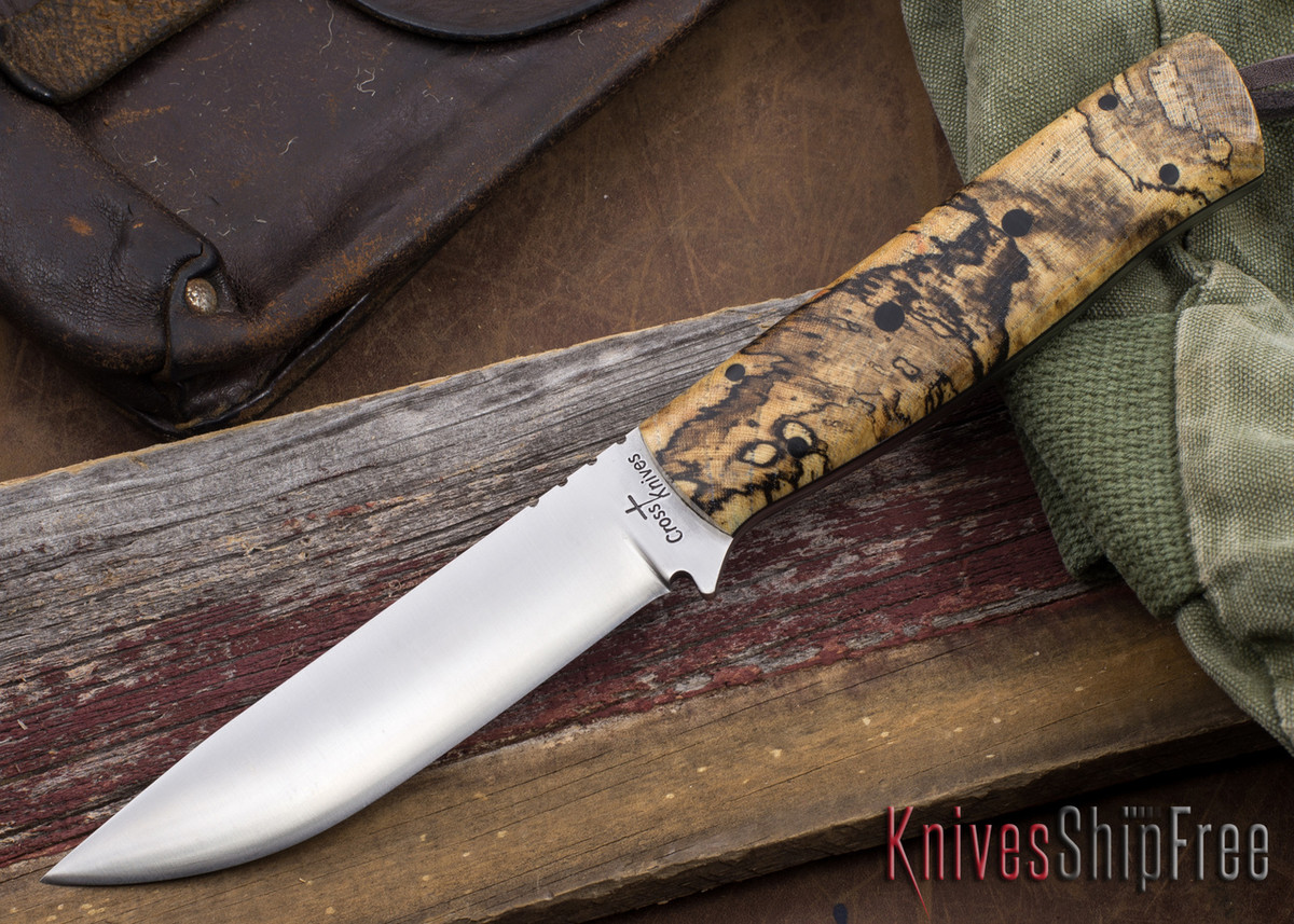 Cross Knives: Bushcrafter Knife - Spalted Hackberry - Black Liners - Black G-10 Pins primary image