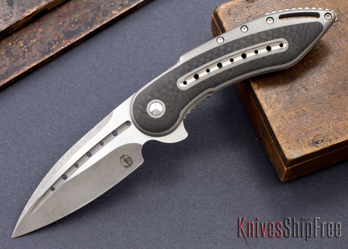 Todd Begg Knives: Custom Glimpse 6.0 - Carbon Fiber Inlay - Fluted Blade - 120920 primary image