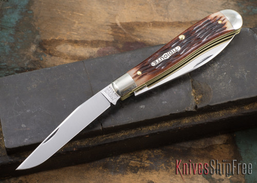 Great Eastern Cutlery: #48 Tidioute - Improved Trapper - Antique Amber Jigged Bone