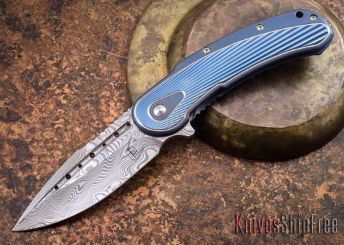 Todd Begg Knives: Steelcraft Series - Bodega - Blue Frame - Blue Fan Pattern - Damasteel - 009