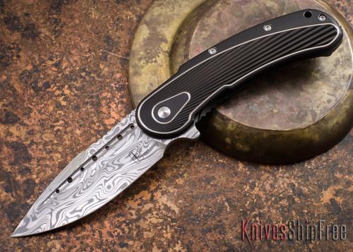 Todd Begg Knives: Steelcraft Series - Bodega - Black Frame - Black Fan Pattern - Damasteel - 013