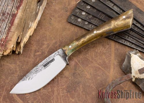 Lon Humphrey Knives: Custom Muley - Forged 52100 - Dark Curly Maple #205