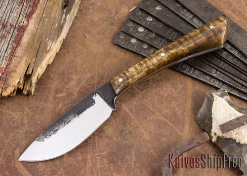 Lon Humphrey Knives: Custom Muley - Forged 52100 - Dark Curly Maple #209