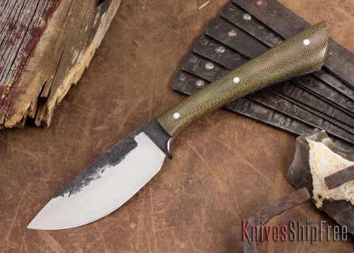 Lon Humphrey Knives: Custom Muley - Forged 52100 - Green Canvas Micarta - Drop Point